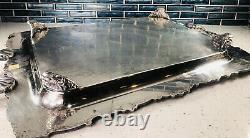 Large Silver A Fait Un Trajet À La Main. Design De Pétoncle Floral Orné Vtg
