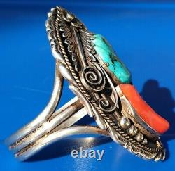 Large Vintage Argent Sterling Navajo Turquoise / Corail Rouge Cuff Signé T 65.4 Gram