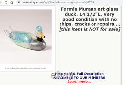 Large Vintage Murano Formia Mian Giuliano Argent Feuille De Verre De Canard Sculpture 9.5