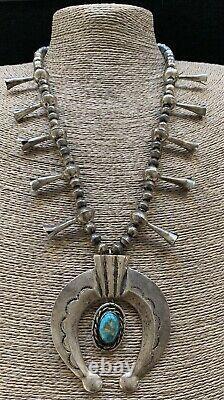 Large Vintage Navajo Argent Sterling Squash Blossom Perles Naja Collier