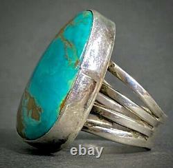 Large Vintage Navajo Sterling Silver Gem Turquoise Wide Band Bague Gorgeous