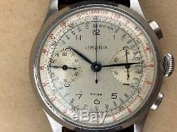 Lemania 1950 Style Militaire Chronographe Grand Vintage Hommes Montre