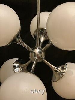 Lightolier Vintage MID Century Modern Sputnik Orb Chandelier Chrome Retro