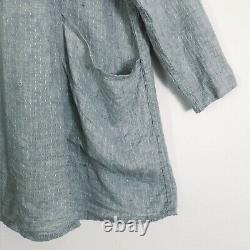 Lin 2002 Artistes Smock L/xl Lin Tunic Top Veste Vtg Aqua Blue Gray