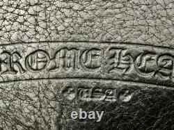 Magnifique Gros Coeurs Chrome Cuir Noir / Argent Sterling Cross Sac À Main Satin