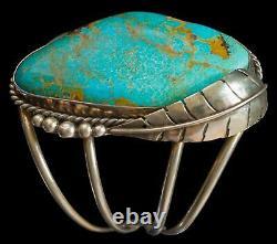 Magnifique Vintage En Argent Sterling Et Grand Turquoise Bracelet