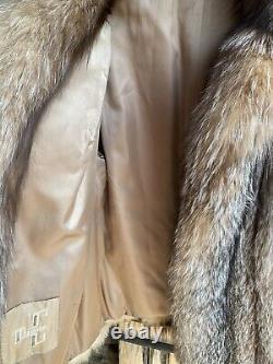 Manteau De Fourrure De Renard D'argent Vintage Doublé De Courte Taille Pour Femmes Grand Magnifique