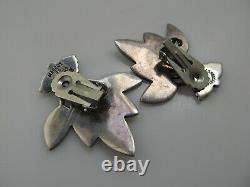 Margot De Taxco Sterling Silver Enamel Grandes Boucles D'oreilles Feuille Verte 5405 Vintage