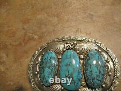 Marvelous Large Vintage Navajo Sterling Silver Royston Turquoise Belt Buckle