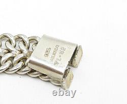 Mexique 925 Silver Vintage Grand Brillant Deux Rangées Collier À Chaîne Plate N2470