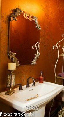 Miroir Mural Victorian Sans Cadre Grand Orné Vanité Argent Neiman Marcus Antique