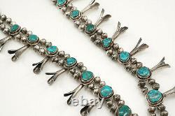 Native American Silver Vintage Grand Collier De Squash Turquoise Blossom, 26 Ans