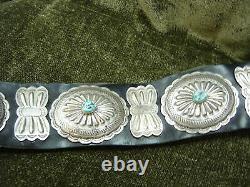 Navajo Immobilier / Vintage Musée Grl Pc En Argent Sterling / Turquoise Concho Ceinture Hvd-10