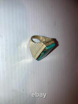 Nice Grand Vintage Navajo Sterling Argent Turquoise Mens Taille De Bague 10