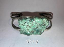 Nice Vieux Vintage Navajo Argent Sterling Raw Large Nugget Bracelet Turquoise