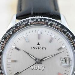Original Gents Invicta World Time Automatic Date Large 39mm Steel Vintage Suisse