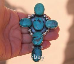 Pendentif En Argent Sterling Turquoise Navajo Turquoise Stone Cross Very Large & Heavy Vintage