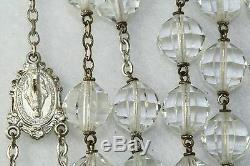 Rare Grand Vintage 1940 Ou En Argent Sterling Énorme Cristal Rosaire De 1950