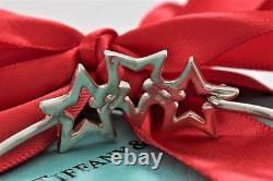 Rare Vintage Tiffany & Co Silver Interlocking 3 Étoiles Hook Bangle Grand Bracelet