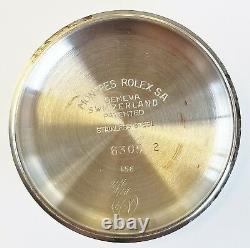 Rolex Rare Vintage Stainless Datejust Large Bubbleback 6305-2 Lunette Crénelée