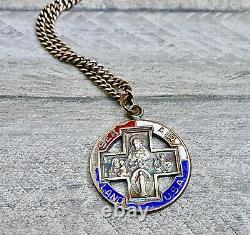Rrl St. Christopher Médaille Large Vintage Sterling Argent Émail Chaîne Surf USA