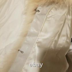 Saga Vintage Real Genuine Fur Natural Coat Silver Ladies Large
