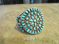 Splendid Large Older Vintage Navajo Sterling Silver Turquoise Cluster Bracelet