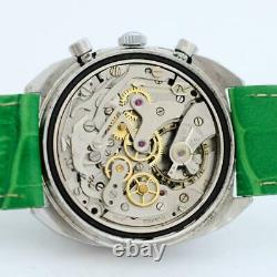 Sporty Swiss Vintage Chronograph Manual Wind Original Green Dial Large Ss Watch
