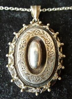 Sterling Argent Vintage Victorien Antique Grand Médaillon Ovale Jante Sertie