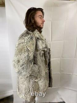 Superbe Vintage Real Silver Fox Fur Coat Size Grandes Femmes / Petits Hommes