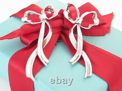 Tiffany & Co Silver Large Love Ribbon Boucles D'oreilles Bow Studs Vintage Flowing