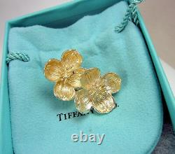 Tiffany & Co Vintage Large Sterling Silver Dogwood Flower Percé Boucles D'oreilles