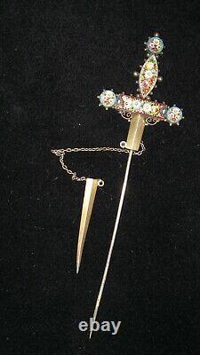 Très Grande Ancienne Victorienne Micro Mosaïque Argent Épeautre Dagger Brooch Jabot Épingle