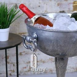 Tumbani Grand Plancher Vintage Debout Champagne Distressed Champagne Bucket Ice Silver Bar