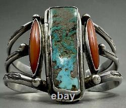 Unique Grand Vintage Navajo En Argent Sterling Turquoise Corail Bracelet