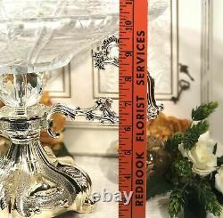 Vase Vintage Art Nouveau Verre Plaqué Argent Pièce Centrale Epergne Grand