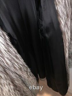 Veste Véritable Silver Fox Fur Coat Vintage Womens Large