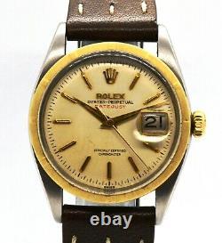Vintage 1963 Rolex Date Just Large Bubble Back Bracelet En Cuir Ref 6305 Serviced