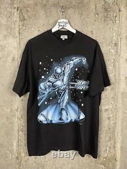 Vintage 2001 Silver Surfer Marvel Comic Graphic Promo Tee Chemise Taille Grand
