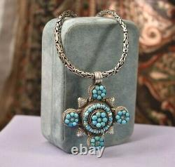 Vintage 925 Sterling Argent Turquoise Grand Collier De Chaîne Pendentif
