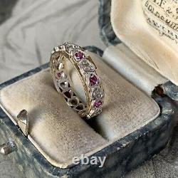 Vintage 9ct Gold Ruby Eternity Ring, Silver Heart Ensemble Avec White Spinels Uk L