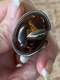 Vintage Amber Art Nouveau Grand Anneau De Vigne Argent Cabochon