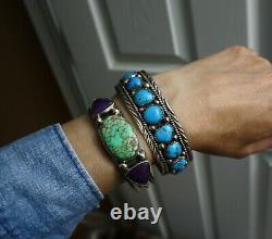 Vintage Amérindien Navajo Turquoise Sterling Bracelet En Argent De Grande Taille