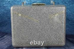 Vintage Années 1950 Silver Glitter Clear Confetti Lucite Large Box Bag Floral Panel