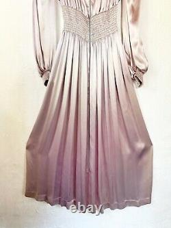 Vintage Années 1970 Années 80 Silver Long Sleeve Maxi Dress Disco Glam Sexy Size M/l Groovy