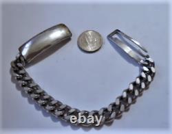 Vintage Anson Argent Sterling Grand Bracelet D'identité Lourd