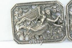 Vintage Antique Grand Argent Sterling Angels Ceinture Boucle