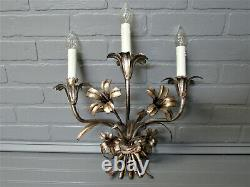 Vintage Antique Italian Tole Wall Sconce 3 Light Silver Gilded Lily Floral 18l