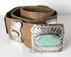 Vintage Arnold Maloney Argent Sterling Navaho Grande Concho Ceinture Avec Turquoise