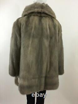 Vintage Belle Veste En Fourrure De Vison Gris Argenté, Manteau Nouvelle Doublure En Satin Sz L